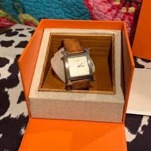 Hermès H Heure Stainless Watch Ostrich Band